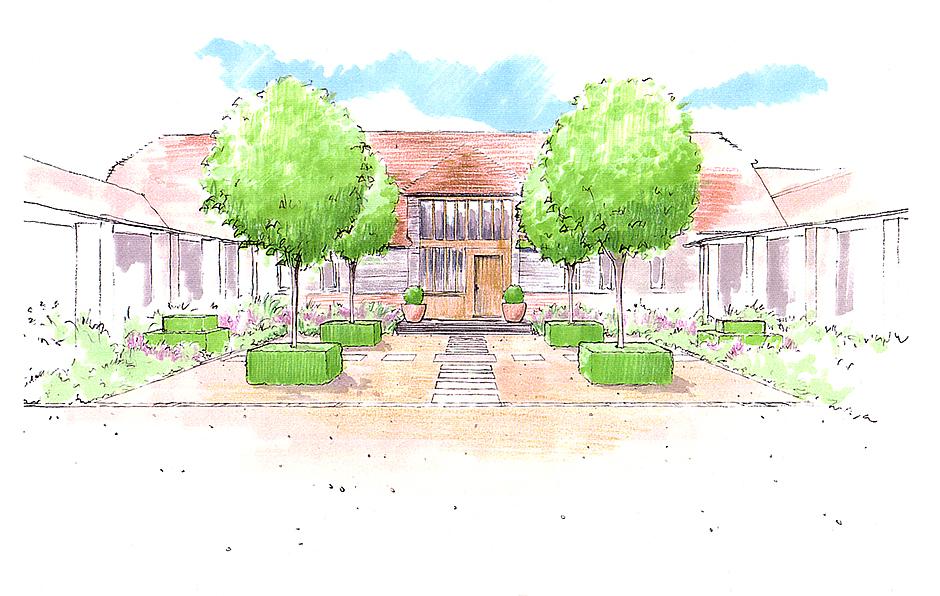 Views and Vistas Courtyard sketch
