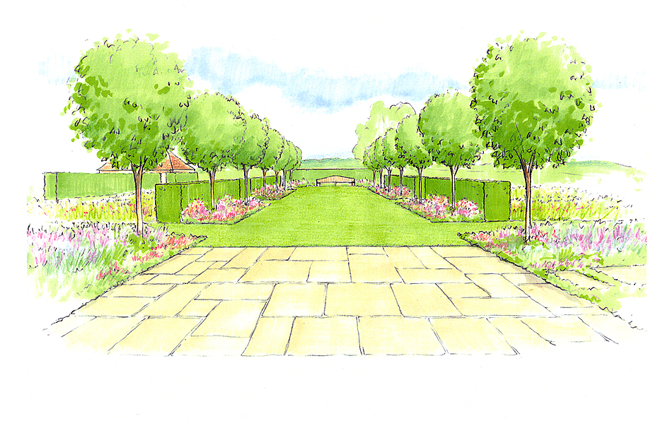Views and Vistas Gable end avenue sketch