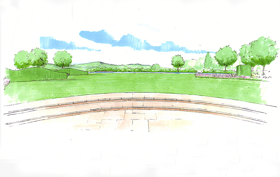 Views and Vistas Sketch of pond from terrace