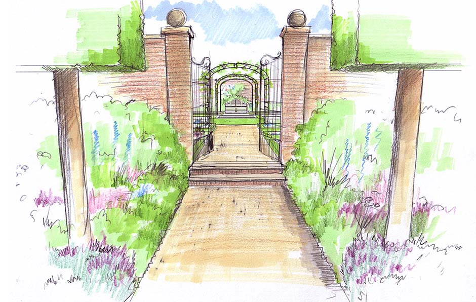 sketch-2-view-into-walled-garden Mill Waters, Still Waters