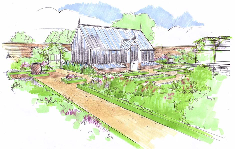 sketch-3-walled-vegetable-garden Mill Waters, Still Waters