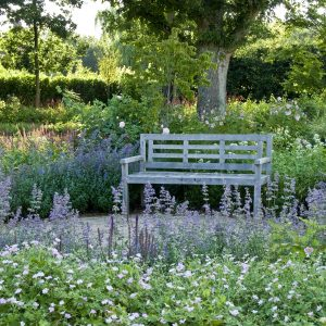 Acres Wild Artfully Accessible Bench in Summer Planting